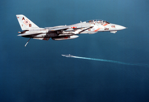 F-14 Approaches Ship Image