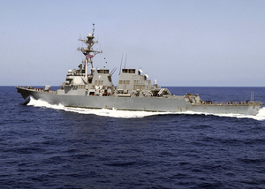 The Guided Missile Destroyer Uss Donald Cook (ddg 75) Conducts A High-speed Maneuver Image