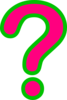Pink/green Question Mark Clip Art