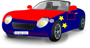 Red Blue Convertible Sports Car Clip Art