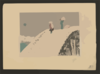 Two People Crossing A Steep Snow-covered Bridge Clip Art
