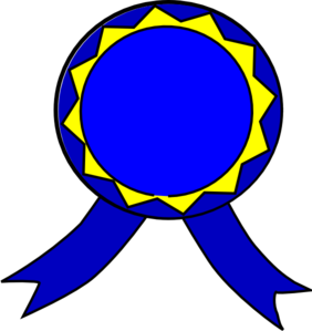 Blue And Yellow Medal  Clip Art