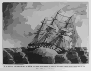 U.s. Ship Independance, Razee, Bearing The Broad Pennant Of Com. Charles Stewart, Struck By A Squall, Off The Coast Of America, Sept. 8th 1842. Drawn By George Filley, One Of The Crew  / E.b. & E.c. Kellogg, 144 Fulton St., N.y. & 136 Main St. Hartford, Conn. Clip Art