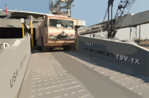 United States Army Vessel (usav) Theater Support Vessel Spearhead (tsv-1x) Off-loads An Army Fire-fighting Vehicle While Pier-side At A Port Within The Central Command Aor. Clip Art