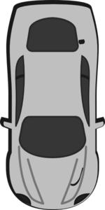 Gray Car - Top View - 270 Clip Art
