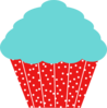 Blue And Red Polkadot Cupcake Clip Art
