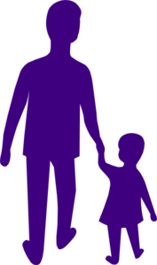 Purple Adult Child Holding Hands Clip Art