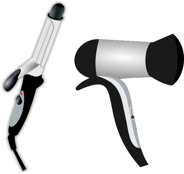 hair iron and blow dryer clip art at vector