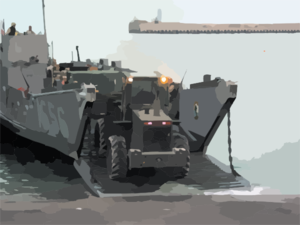 U.s. Army Personnel Assigned To The 567th Transportation Company Offload Water And General Military Supplies From A U.s. Navy Landing Craft Utility (lcu) Clip Art