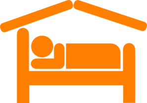 Hotel Motel Sleeping Accomodation Clip Art - Orange Clip Art