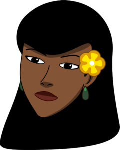 Woman Head With Flower Clip Art