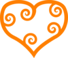 Curly Heart-orange Clip Art