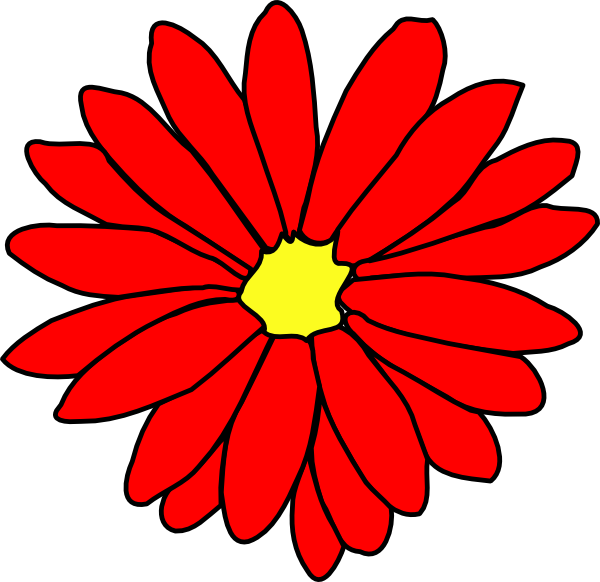 Red Daisy Flower 2 clip artRed Daisy Clipart