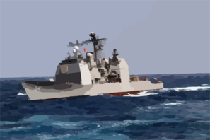The Guided Missile Cruiser Uss Antietam (cg 54) Underway In The Rough Seas Of The East China Sea Clip Art