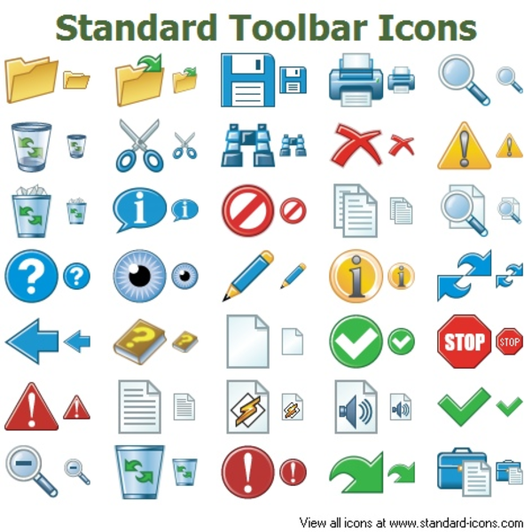 standard toolbar icons