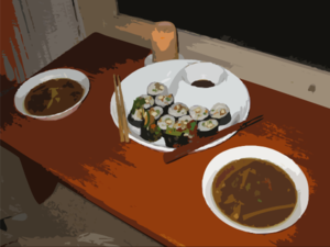 A Candlelight Sushi Dinner Clip Art