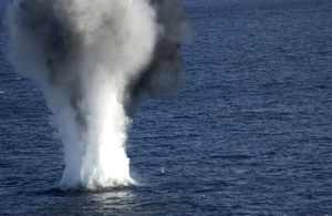 A Dummy Mine Explodes After Service Members Assigned To Explosive Ordnance Disposal Mobile Unit Six (eodmu-6) Attached 20 Pounds Of Explosives To The Device During A Mine Counter Measures Exercise. Image