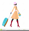 Woman With Suitcase Clipart Image
