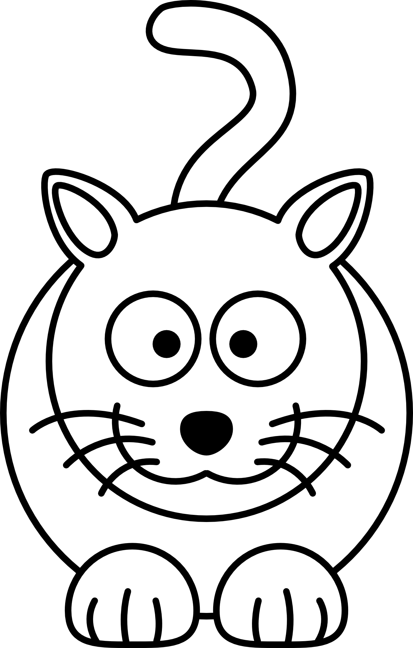 Cat Black White Line Art Coloring Book Colouring Drawing Px ...