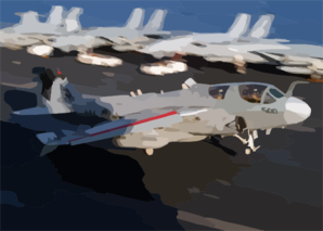 An Ea-6b Prowler Assigned To The  Shadow Hawks  Of Electronic Attack Squadron One Forty One (vaq-141) Lands On The Flight Deck Aboard The Aircraft Carrier Uss Theodore Roosevelt (cvn 71) Clip Art