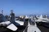 Uss Harry S. Truman (cvn 75) Pulls Alongside The Military Sea Lift Command Combat Stores Ship Usns Spica (t-afs 9) For An Underway Replenishment (unrep) Image