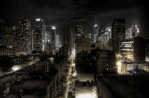 New York City At Night Hdr Image