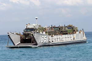 A Landing Craft Utility (lcu) Arrives Just Offshore To Unload Supplies And Equipment In Support Of Exercise Balikatan 2004. Image