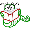 Free Animated Bookworm Clipart Image