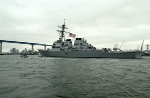 Uss Decatur (ddg 73) Steams Towards The Coronado Bridge As She Departs The Comforts Of Home And Begins Her Scheduled Deployment Image
