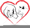 Heart And Cat Clipart Image