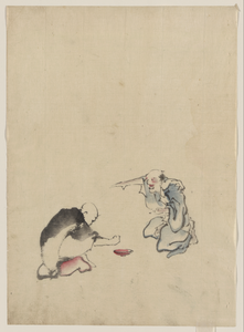 [two Men Playing A Game Or Gambling, Possibly Involving Dice Of Some Sort] Image