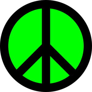 Neon Green & Black Peace Sign Clip Art