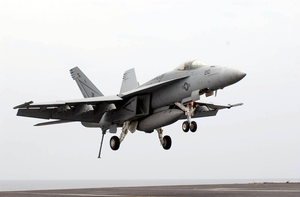 An F/a-18e Assigned To The  Tophatters  Of Strike Fighter Squadron Fourteen (vfa-14). Image