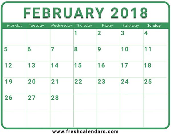 calendar 2018 template download