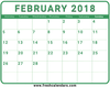 February Calendar Green Template Download Pdf Word Image