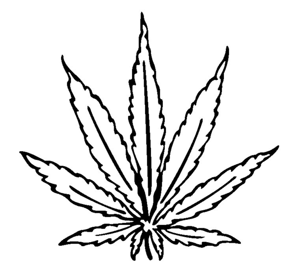Pot Leaf Outline Cannabis leaf drawing i image