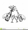 Black And White Champagne Glasses Clipart Image