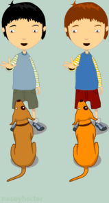 Boys With Dog Clip Art