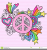 Peace Sign With Flowers Clipart Image