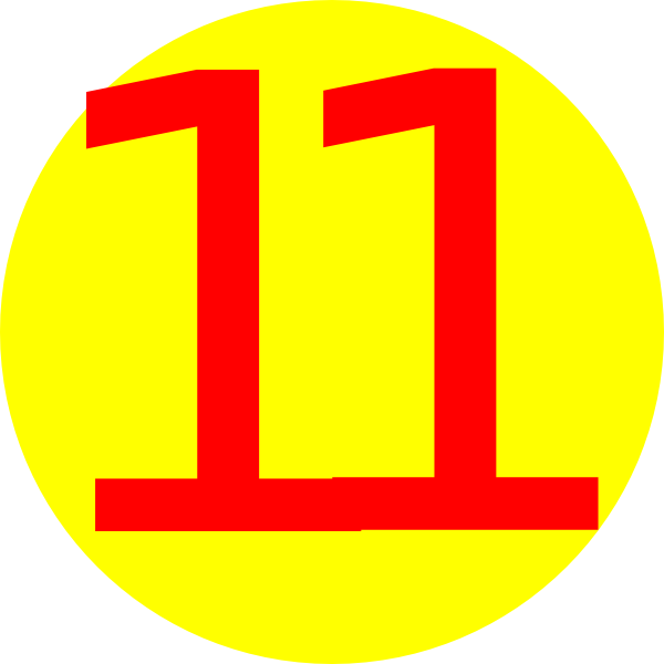 Yellow, Round, With Number 11 Clip Art at Clker.com ...