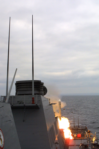 Uss Stethem Fires An Improved Tomahawk Cruise Missile During Tactical Weapons Control Evaluations. Image