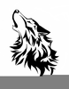 Silhouette Howling Coyote Clipart Image