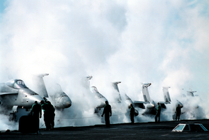 F/a-18s On Flight Deck Image