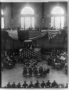 [teddy Roosevelt And Others Gathered On A Platform, People Above And Below Seated] Image