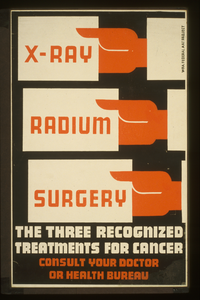 X-ray, Radium, Surgery - The Three Recognized Treatments For Cancer Consult Your Doctor Or Health Bureau. Image
