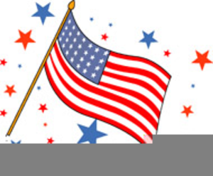Us Flag On Pole Clipart Image