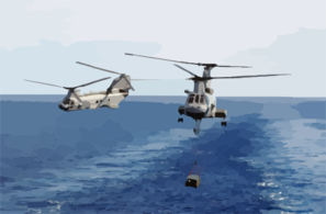 Helicopter Transfer Crates Of Supplies From Aboard Uss Sacramento Clip Art