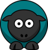 Sheep - Teal On Teal On Black  Clip Art