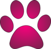 Paw Print Hot Pink Gradient Clip Art