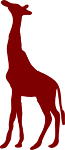 Giraffe Silhouette Dark Red Clip Art